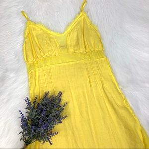 Miss 60 Yellow Linen Strapless Summer Dress XS